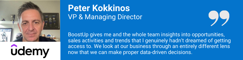 Pter-Kokkinos - BoostUp allows gives us insights into our opportunities that I never dreamed of.