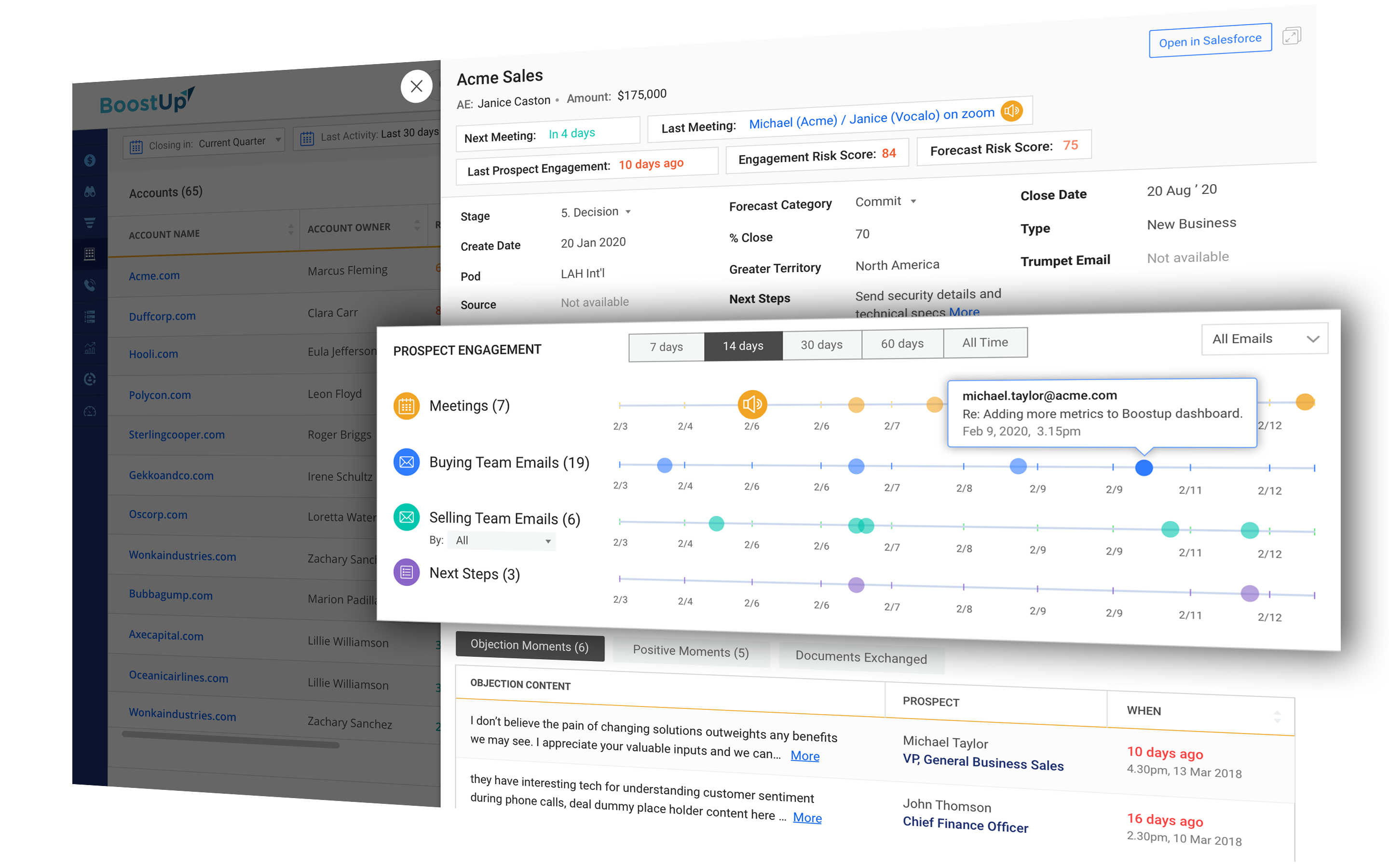 BoostUp Account Insights Prospect Engagement