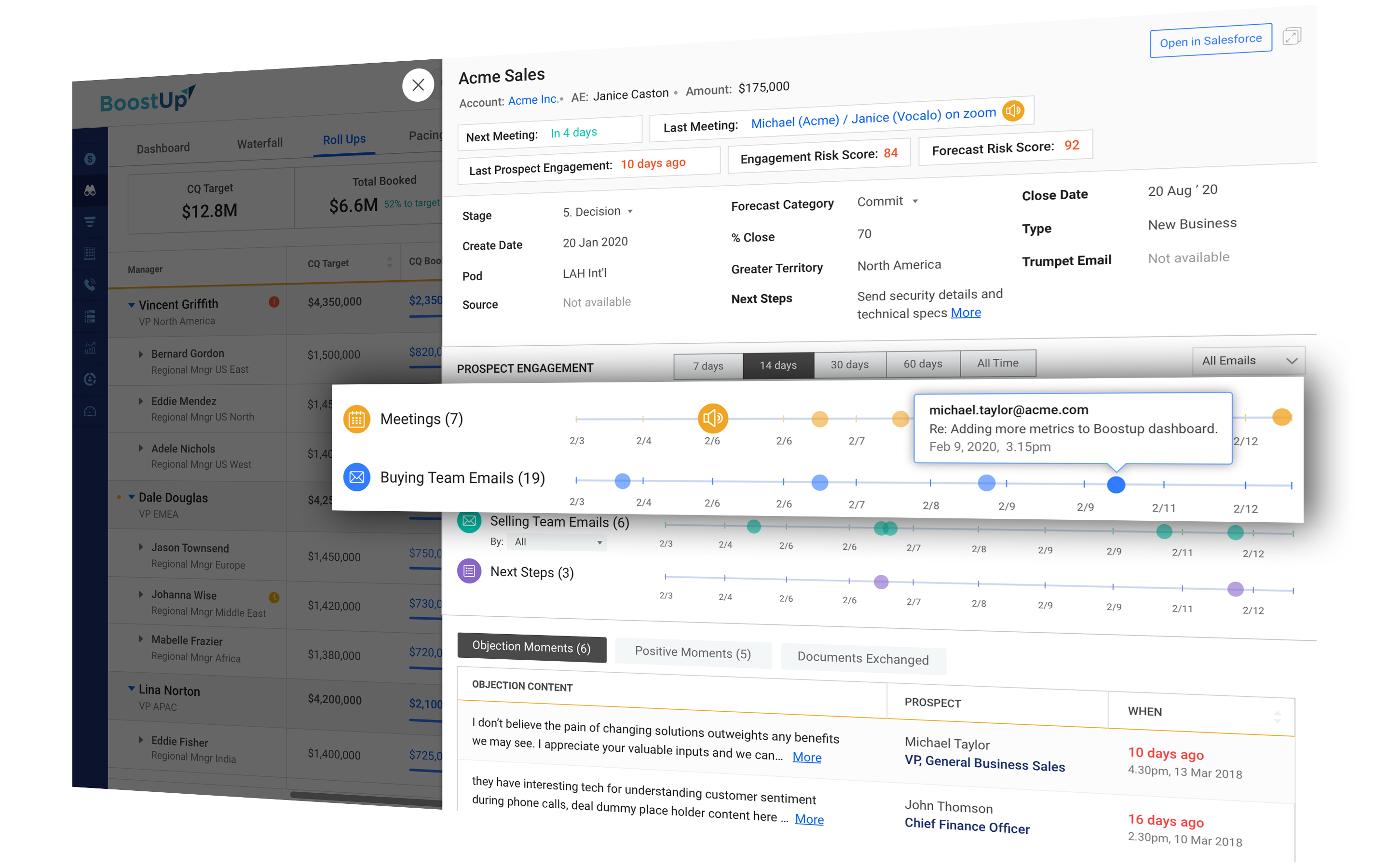 BoostUp Opportunity Insights and Engagement Timeline